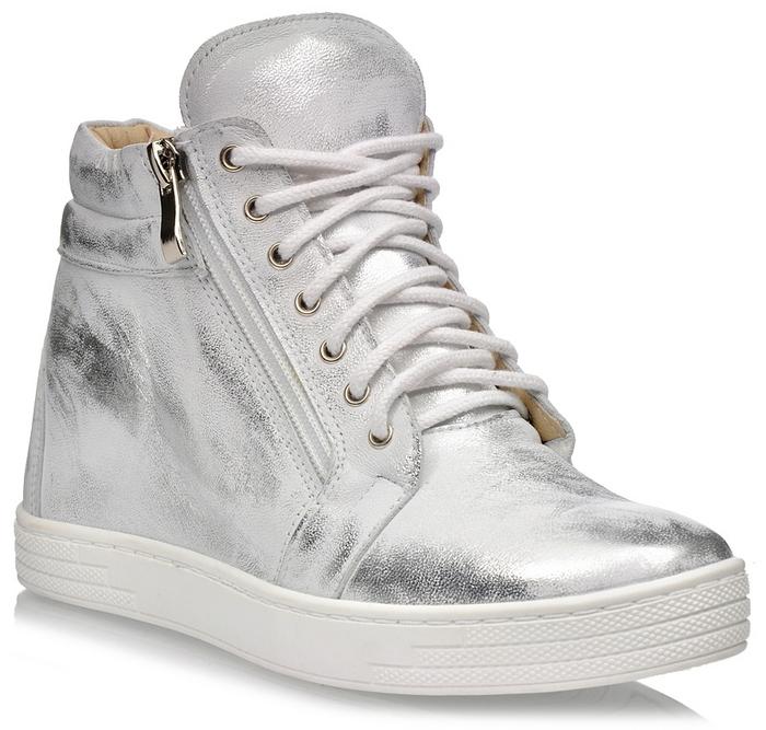 Srebrne skórzane botki sneakersy na koturnie sznurowane