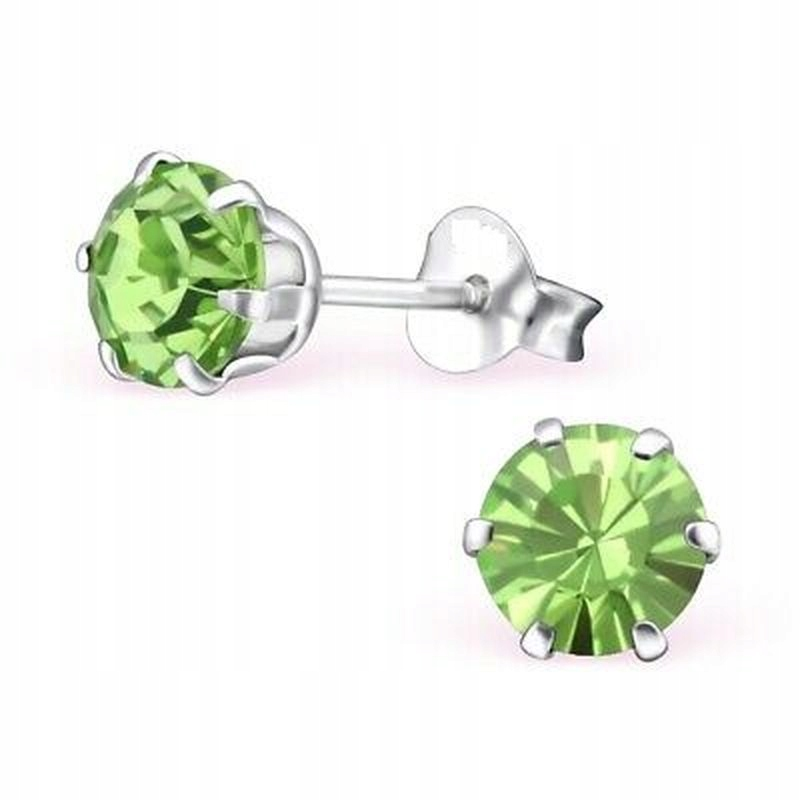 Kolczyki Damskie Posrebrzane Kryształki Zielone