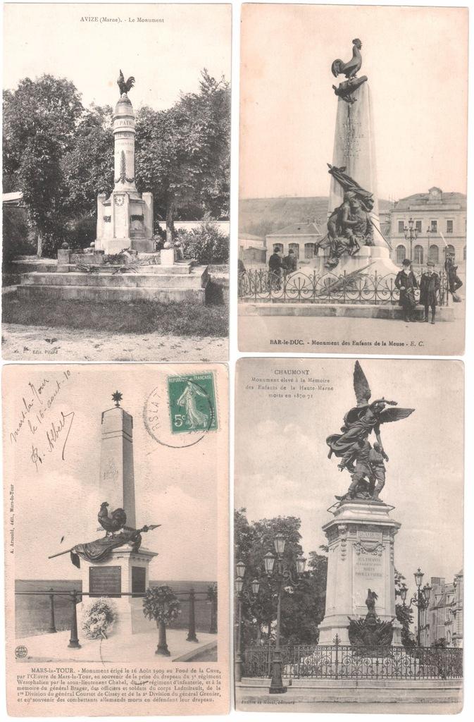 Stare pocztówki KOGUT POMNIK MONUMENT 4 szt. 4V91