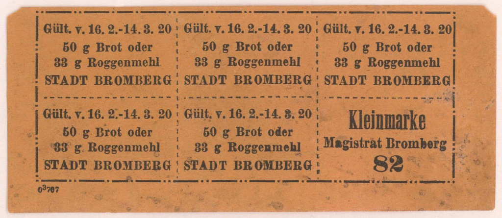 4566. Bydgoszcz Karta zaopatrz. 1920 Kleinmarke 82