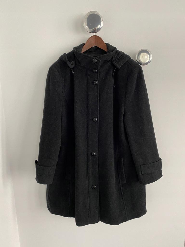 Gerry Weber wełniany kaszmirowy płaszcz z kapturem