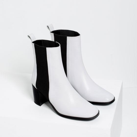 ZARA botki białe/czarne skóra 40