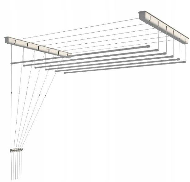 Suszarka sufitowa 6 prętów 150cm suszenia biała
