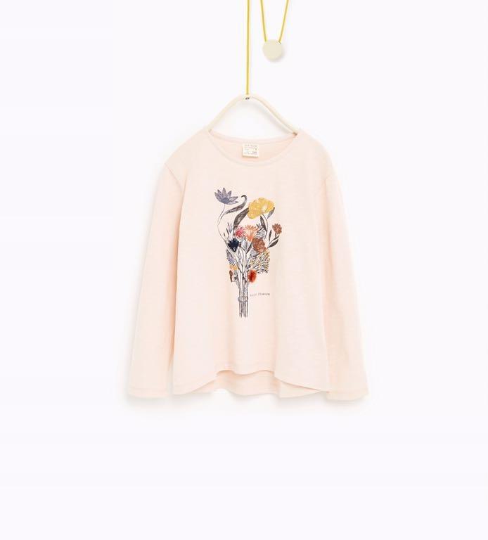 Zara różowa bluzka kwiaty 3d 7 122