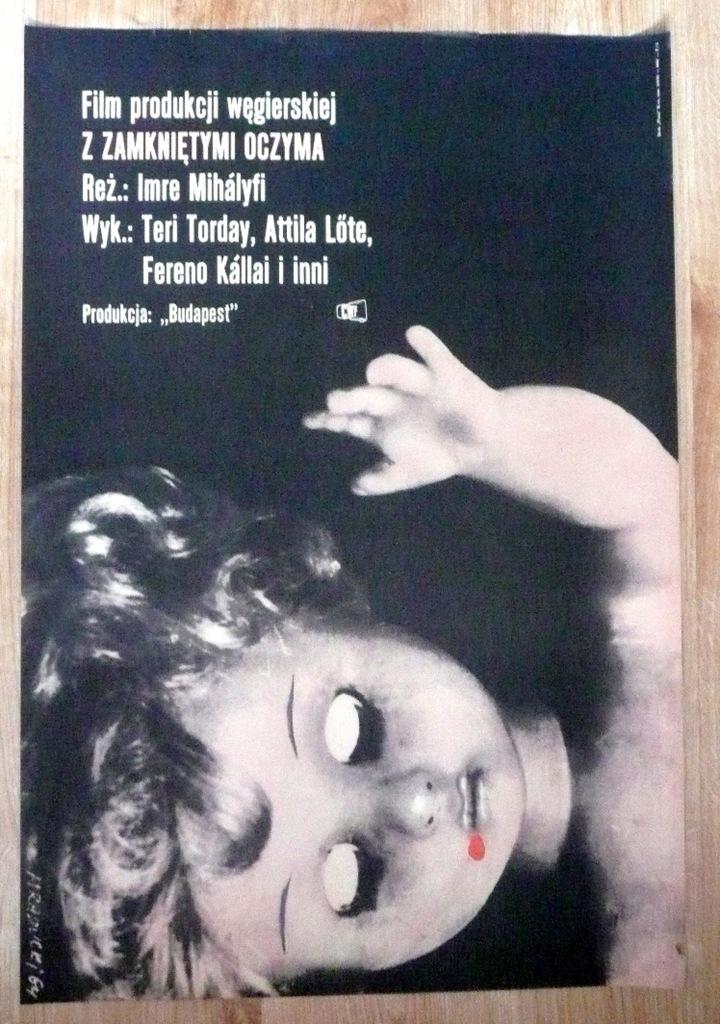 """Plakat filmowy """"Z zamkniętymi .."""" 1964"""