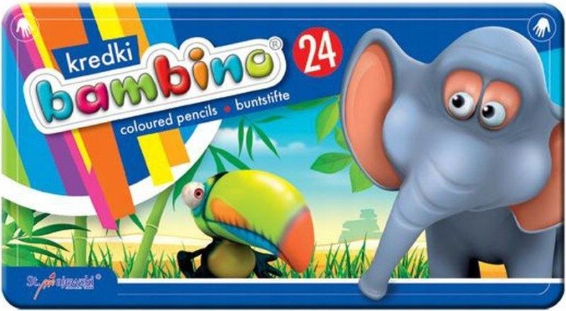 Kredki bambino 24 kolory w pudełku metalowym
