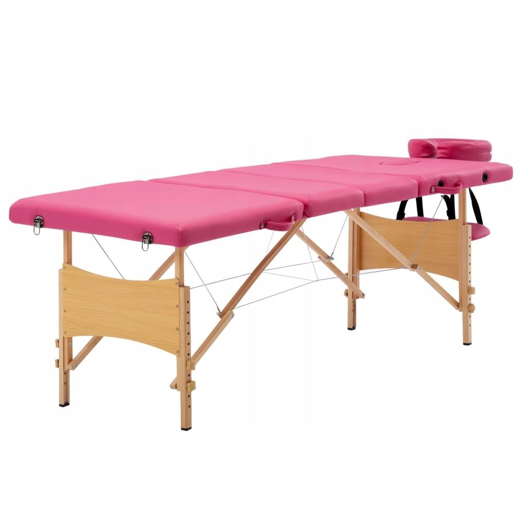 Składany stół do masażu, 4 strefy, drewniany, różo