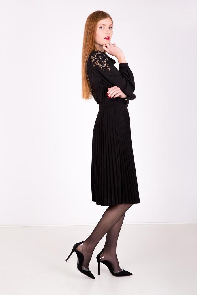 Kobieca plisowana spódnica Czarny UNIWER