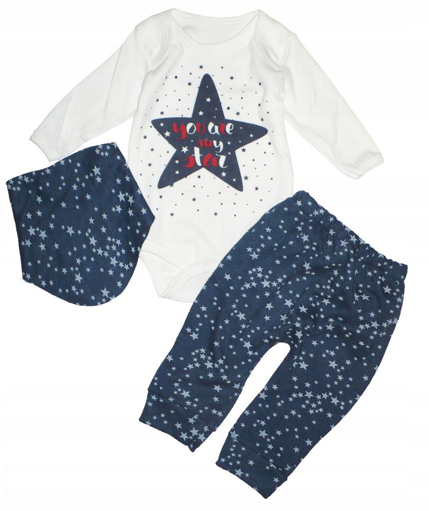 3-częściowy zestaw body, spodnie, chustka r.68