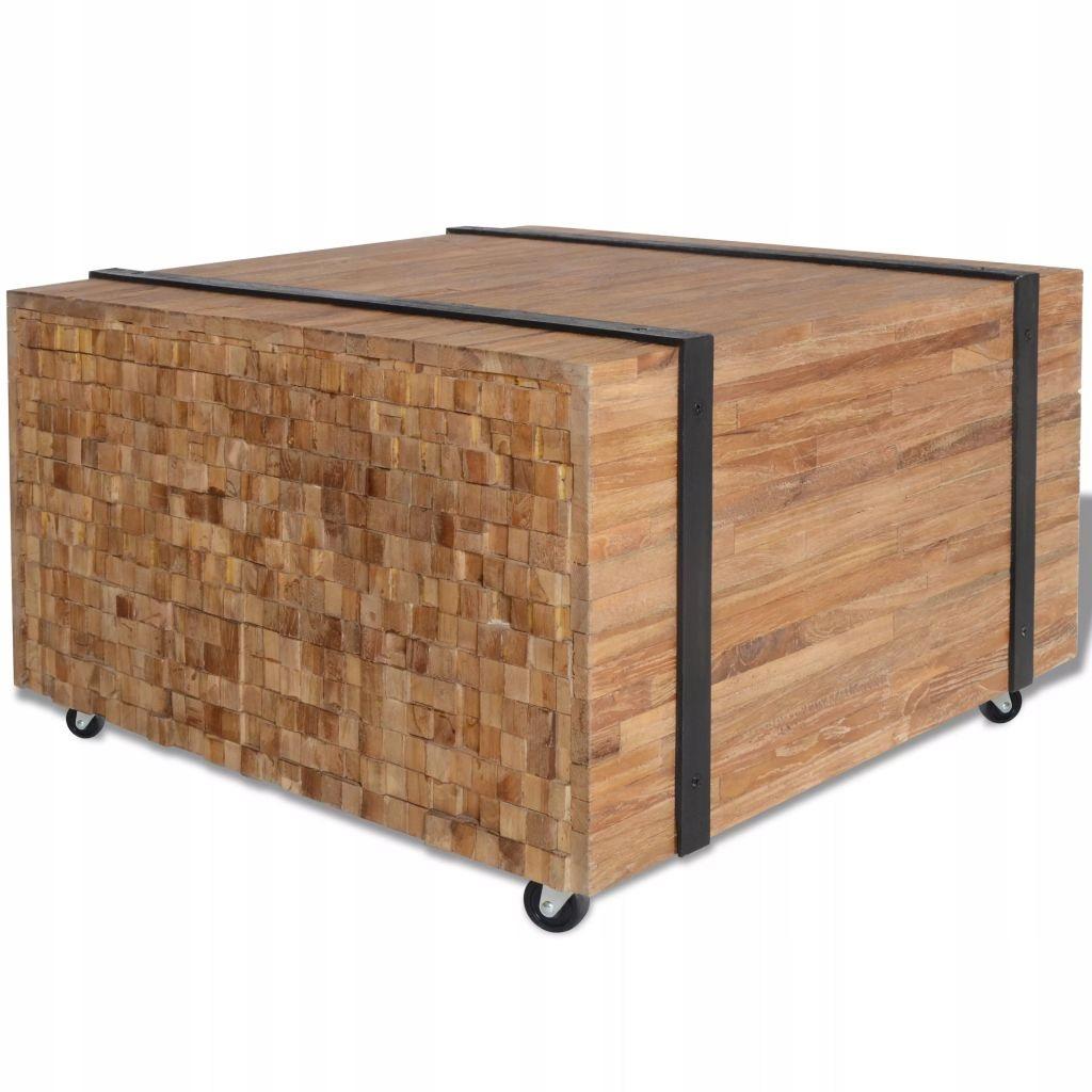 Stolik boczny z drewna tekowego, 60 x 60 x 38 cm
