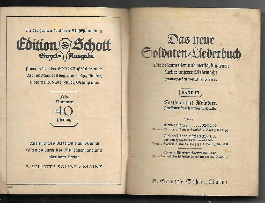 DAS NEUE SOLDATEN LIEDERBUCH / Wehrmacht