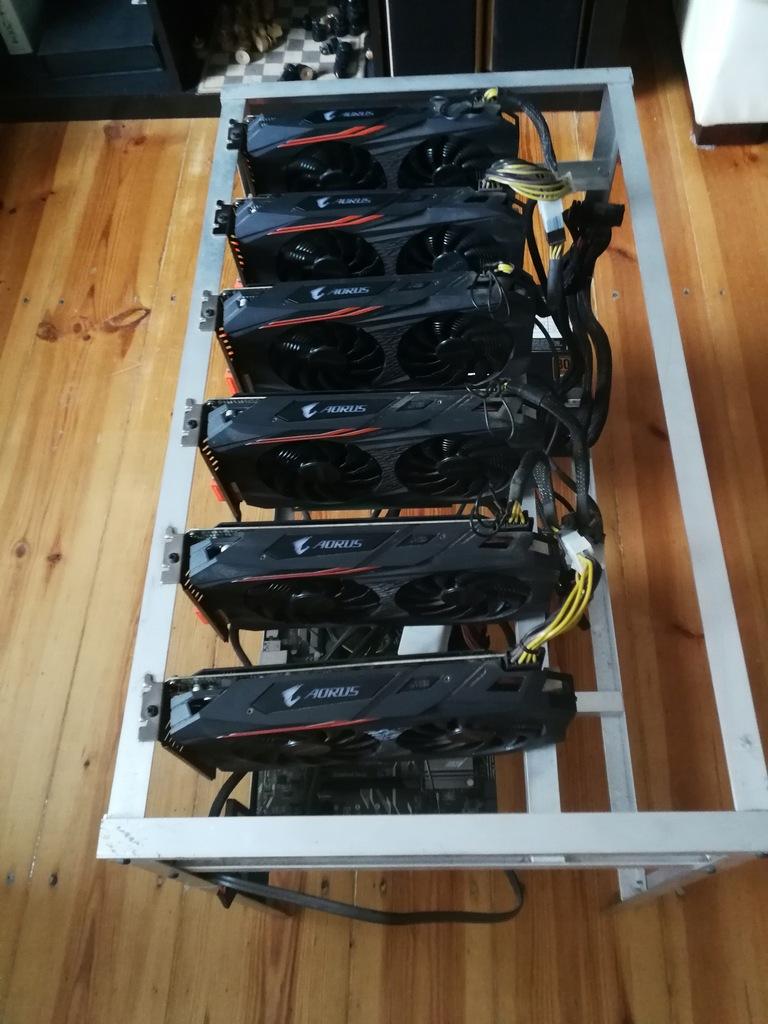 KOPARKA KRYPTOWALUT 6xGigabyte Radeon RX570 Aorus