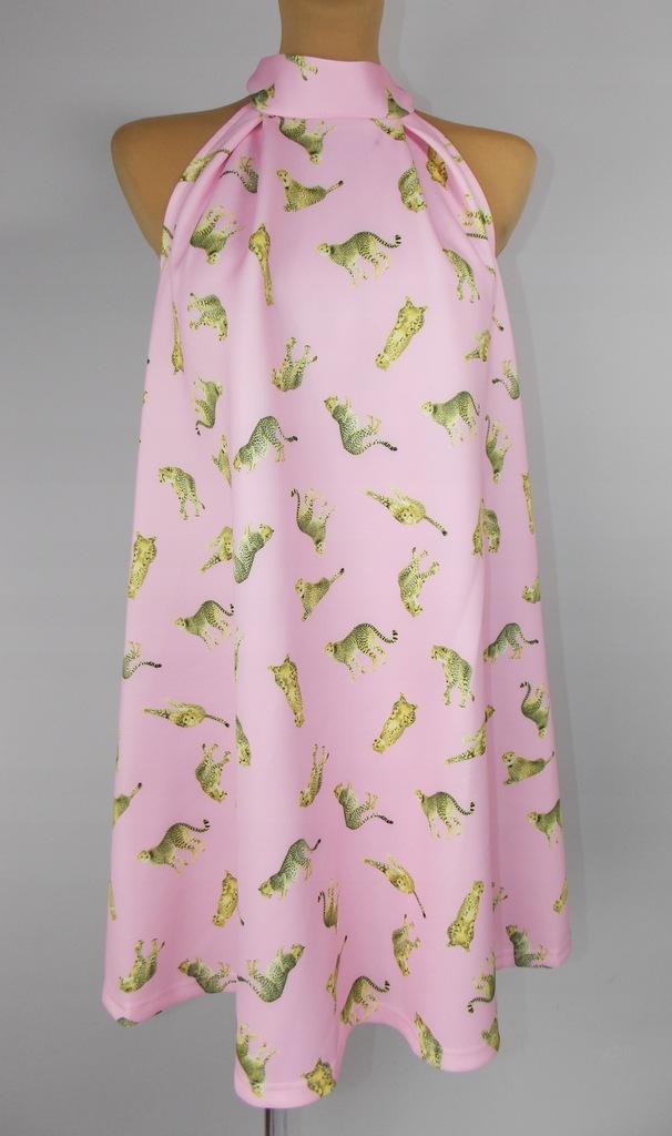 e14 Sukienka ASOS sexy róż lato print animal 38