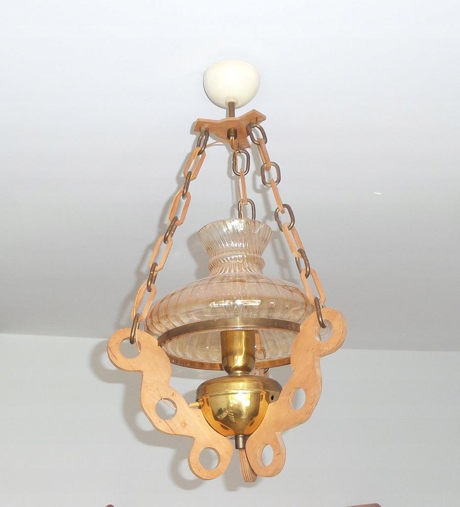 Lampa Vintage wisząca styl antyczny klosz szklany