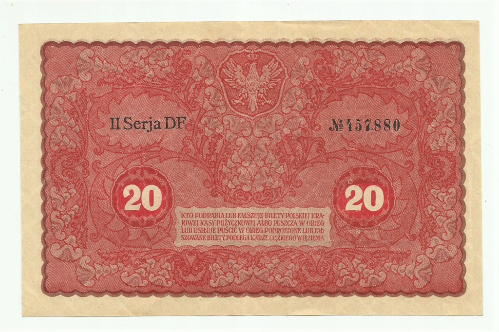 20 marek 1919 II seria DF ładny stan