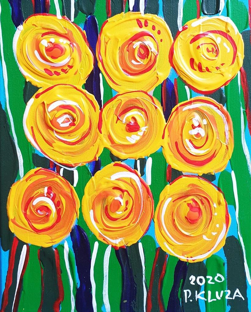 Paweł KLUZA (ur.1983) obraz olej kwiaty 'Róże'