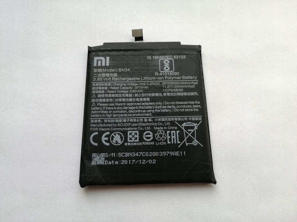 Xiaomi Redmi 5A bateria BN34 3000 mAh ORYGINAŁ