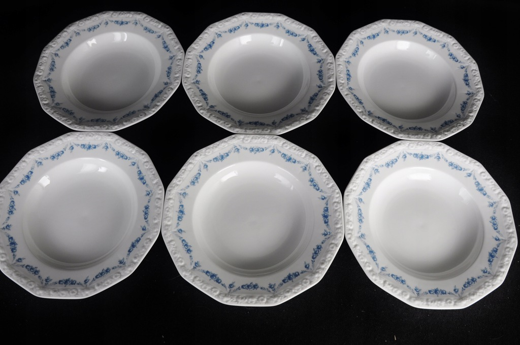 6 Talerzy głębokich Rosenthal Maria Blau błękitna