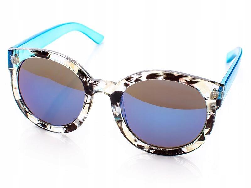 Duże słoneczne okulary damskie lustrzane kocie