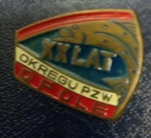 Odznaka wędkarska PZW 20 lat Opole