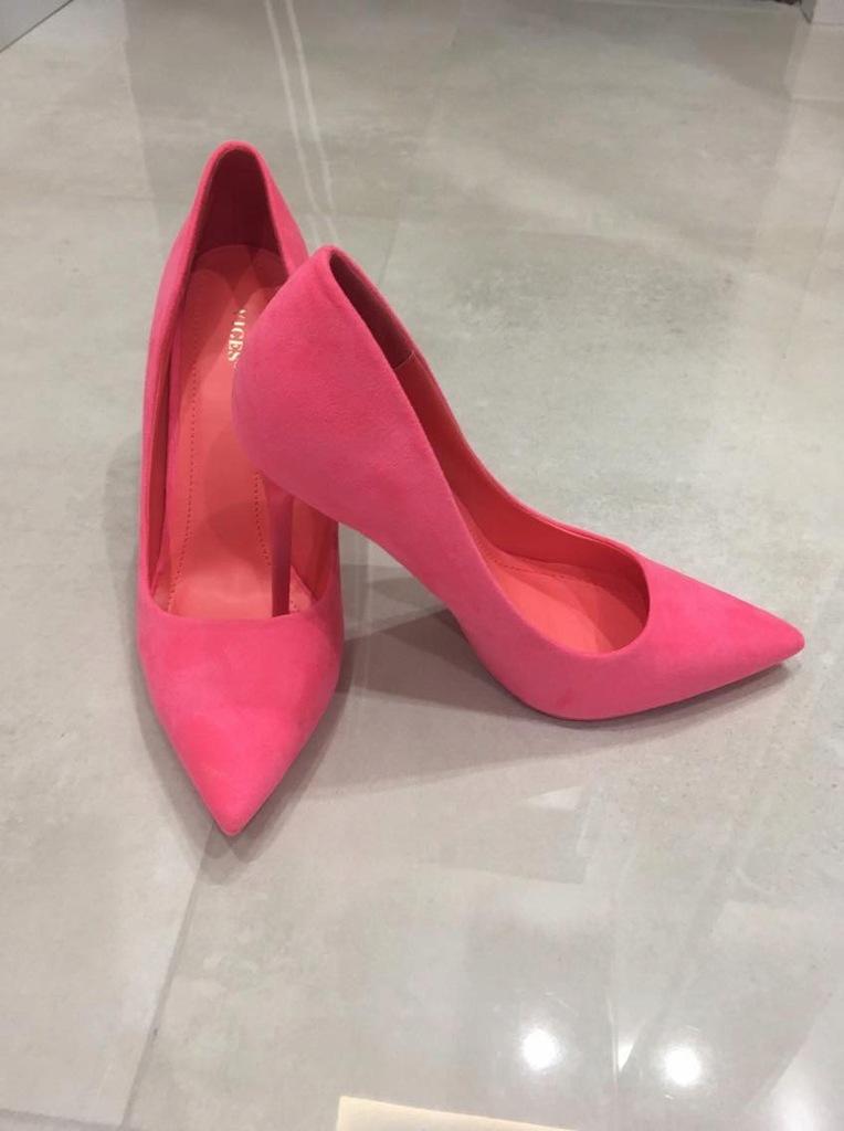 Szpilki VICES neon różowe nowe 39