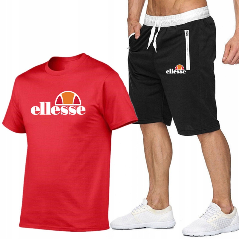 T-shirt CZERWONY+ Spodenki Ellesse R L MPA WYGODNE