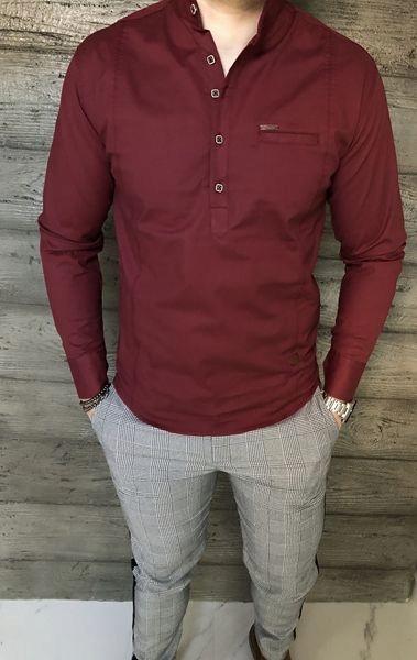 Nowa Bordowa męska koszula ze stójką zapinana do połowy