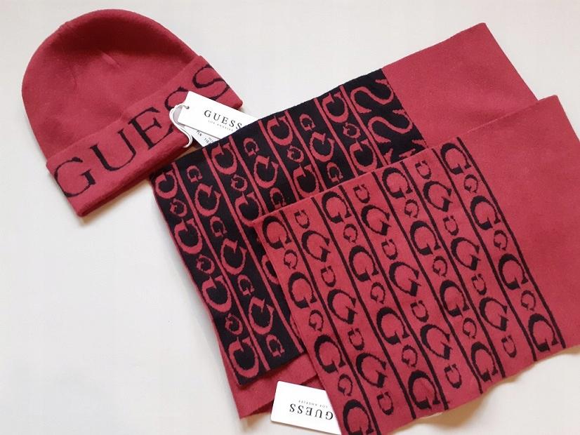GUESS komplet szal+czapka logo