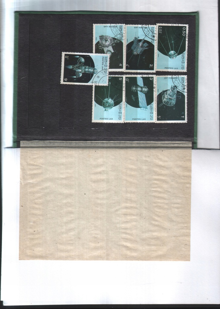 Filatelistyka. Laos -1987 -seria 7 znacz. - Kosmos