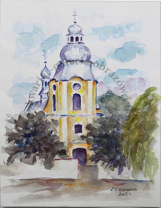 Kościół św. Mateusza Mielec, akwarela K. Gąsiewska