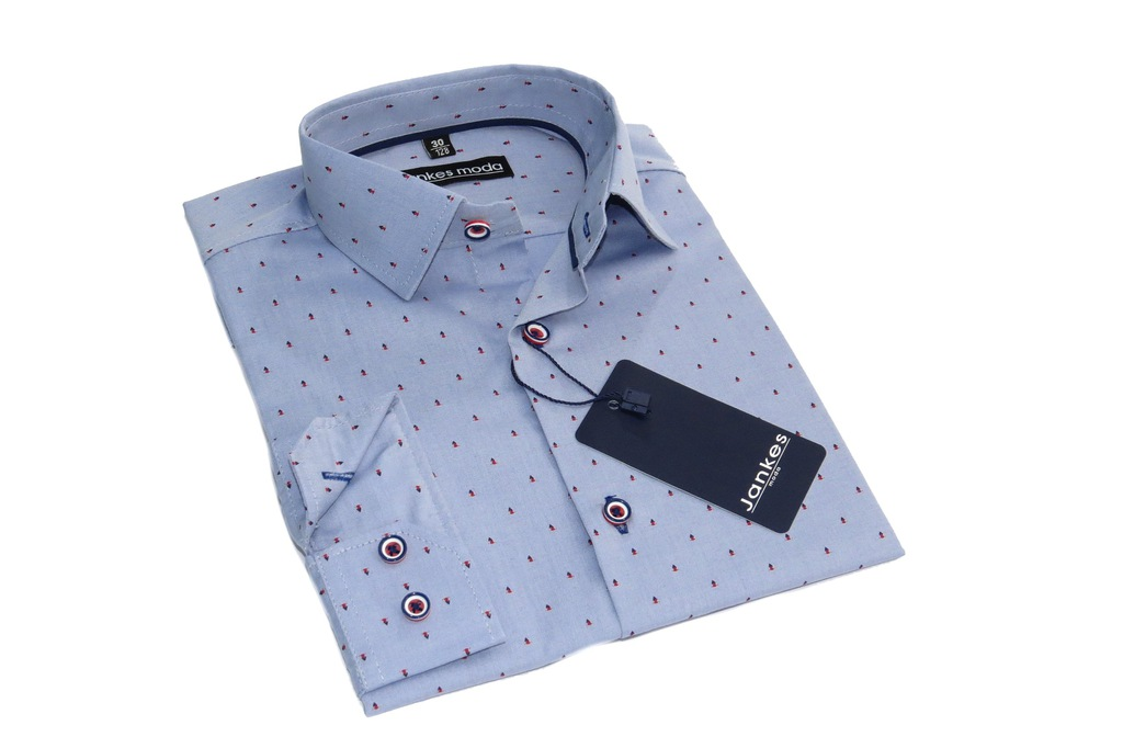 JANKES Koszula Elegancka Niebieska WZORKI 2 146