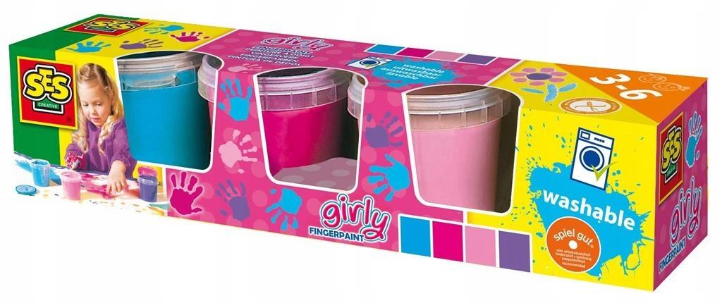Farby do malowania PALCAMI 4 kolory dziewczęce