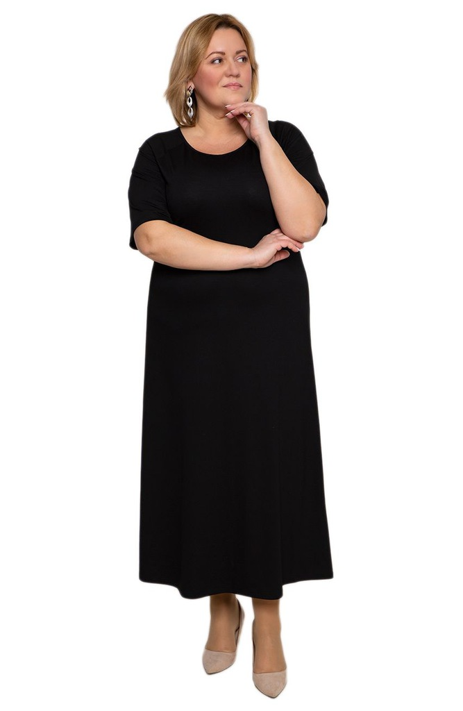 Długa sukienka w kruczoczarnym kolorze 58
