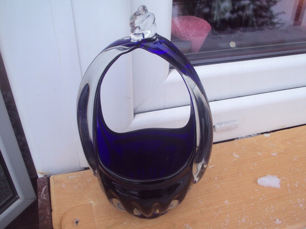 Cudny szklany koszyk szkło kabaltowe