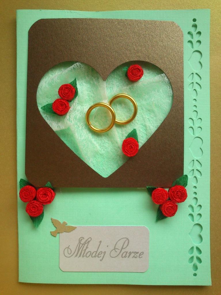 Kartka na ślub, z okazji ślubu, z życzeniami.