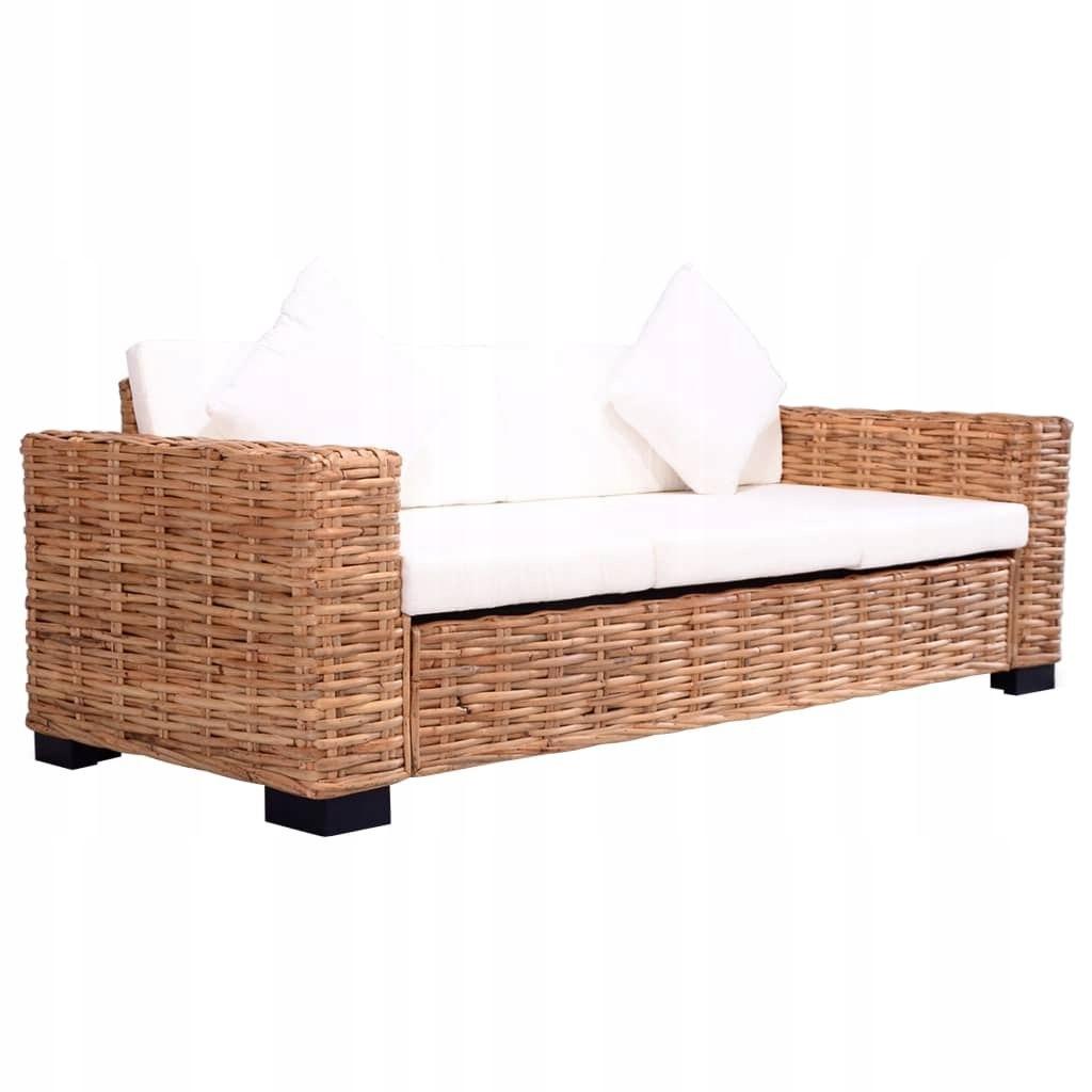 3-osobowa sofa ogrodowa, z naturalnego rattanu