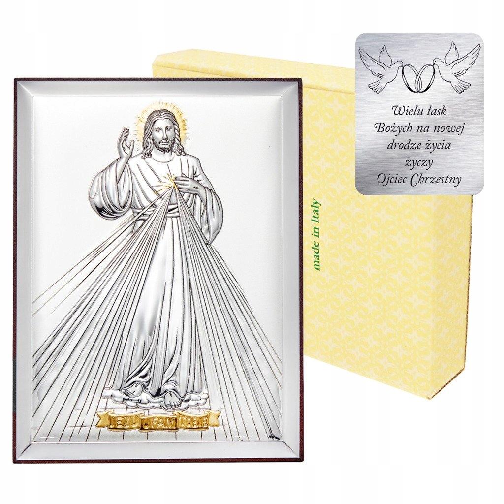 Obrazek srebrny Jezus Miłosierny - Jezu Ufam Tobie