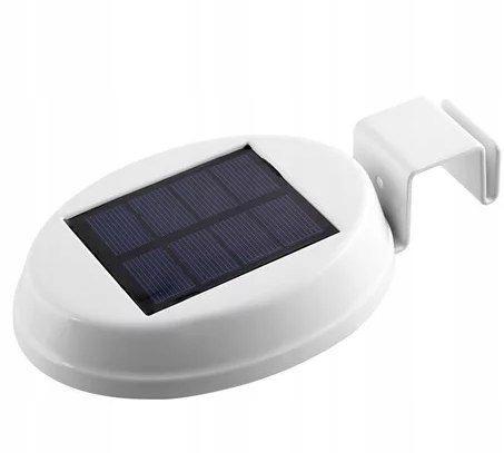 Lampa LED rynnowa solarna biała stalowa mocowana I