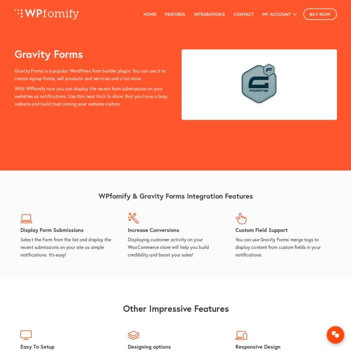 Wtyczka WordPress WPFomify Gravity Forms Addon
