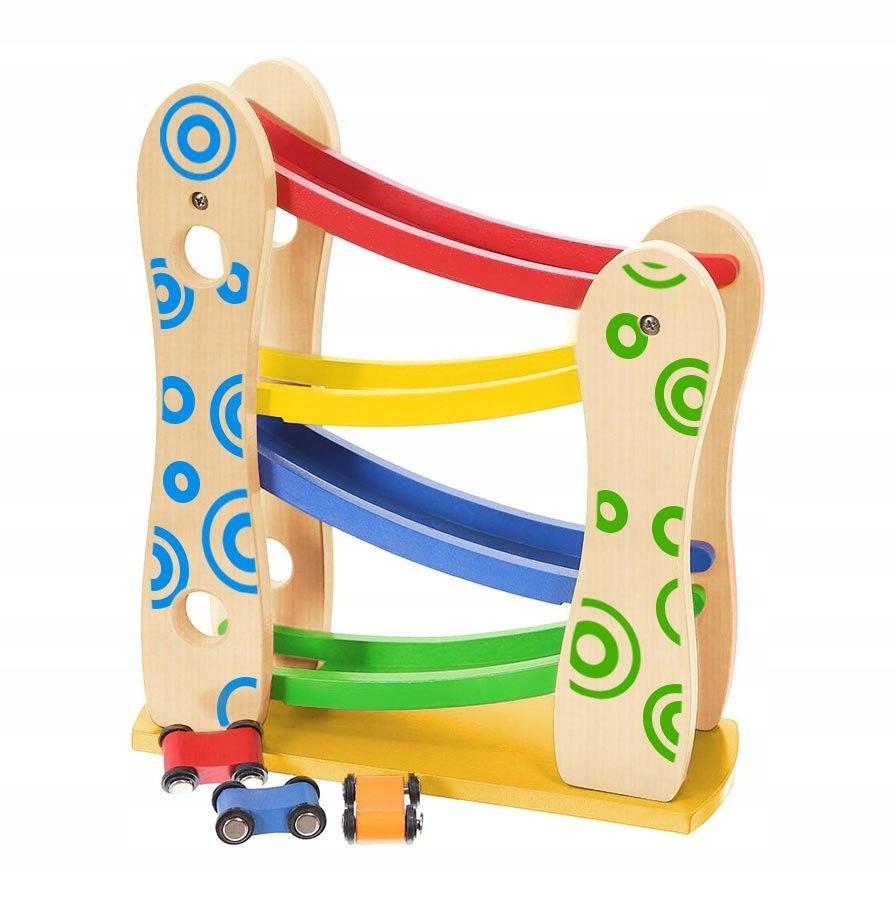 Drewniany tor zjeżdżalnia + 3 autka zabawki Ecotoy
