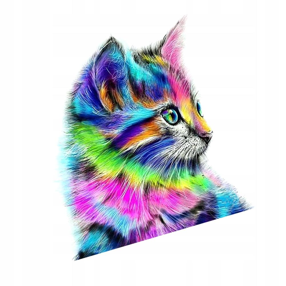 Kolorowy kot Diamentowy obraz DIY Diamentowy haft