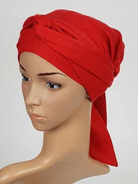 Turban Lara Red na zimę modne chusty Eva Design