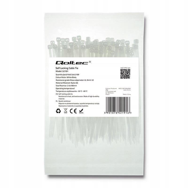 Opaska zaciskowa Qoltec   2.5*100   100szt   nylon