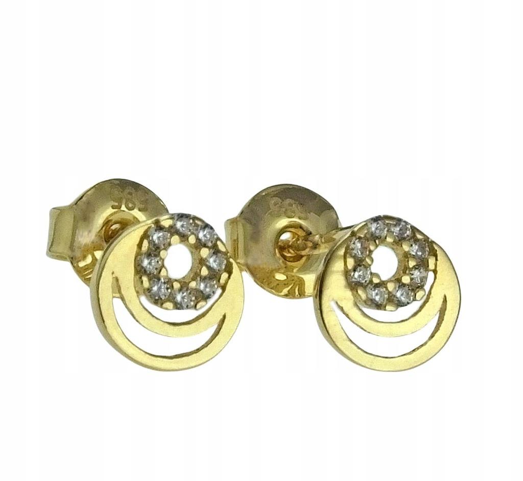 Złote Fantazyjne Kolczyki z Cyrkoniami - pr. 585