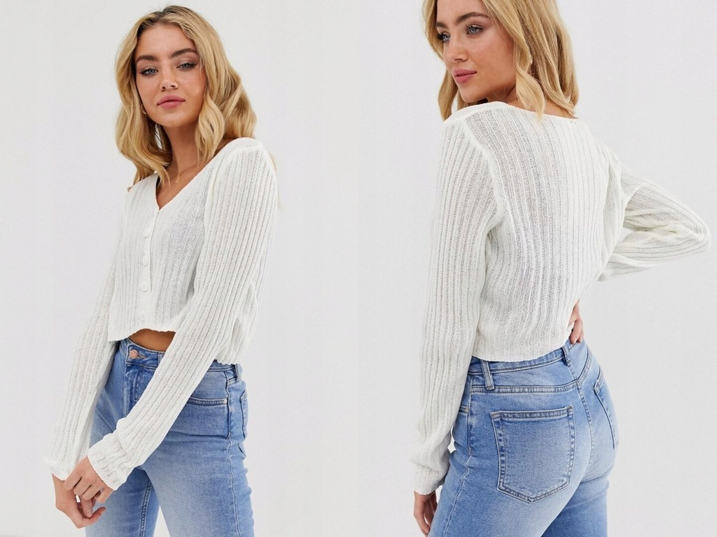 New Look -kremowy krótki sweter na guziki S/36