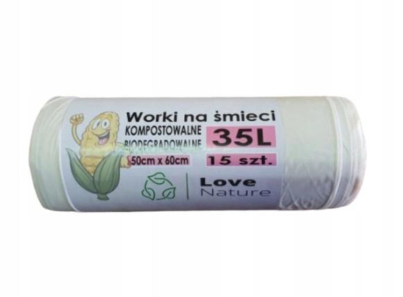 Worki kompostowalne biodegradowalne 35l 15 szt.