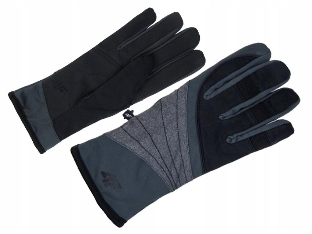 4F Rękawice Zimowe Bieg Damskie Z18 RED001 Black L