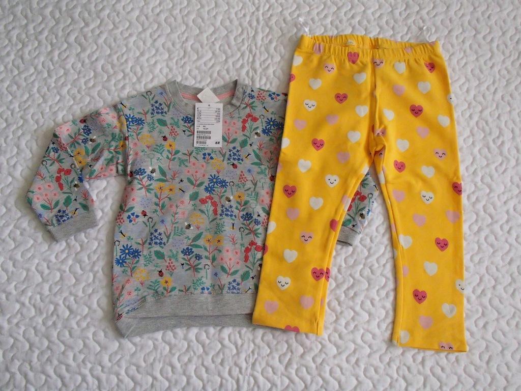 H&M bluza w kwiatki i legginsy nowe roz 92-98