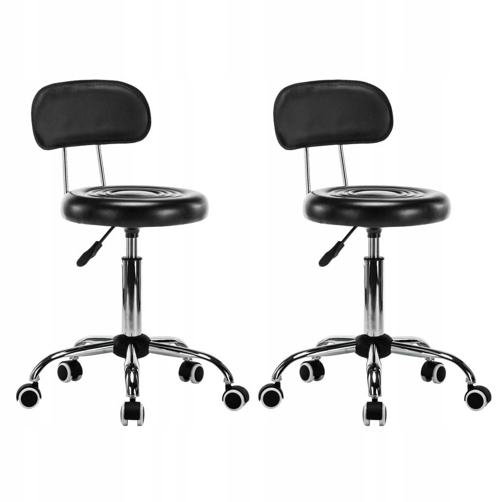Krzesła kosmetyczne 2 szt. obrotowe czarne
