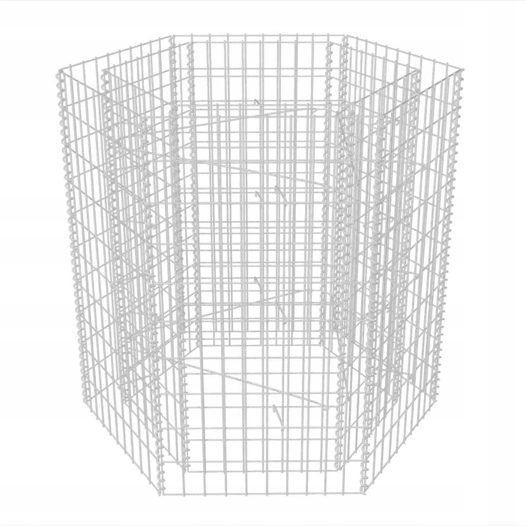 Podwyższona donica gabionowa, sześciokąta, 100 x 9